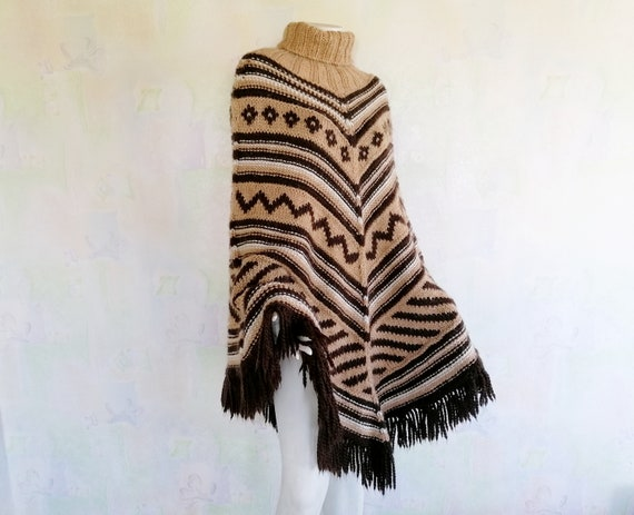 Vintage Hand Knitted Poncho, Wool Turtleneck Ponch