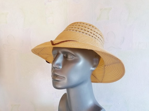 Vintage Straw Sun Hat, Straw Hat with Brown Rope,… - image 3