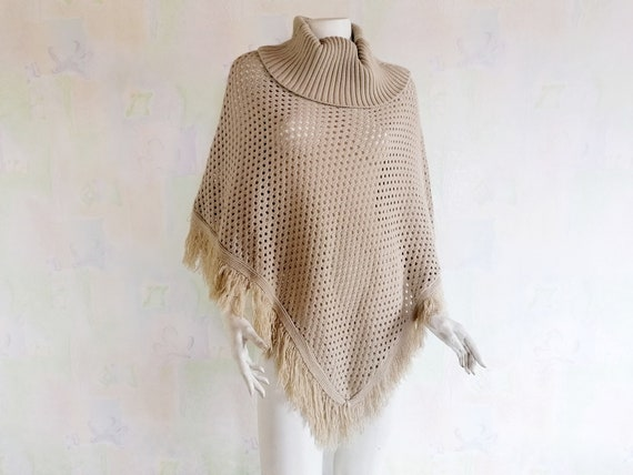 Women's Poncho, Vintage Knitted Poncho, Turtleneck