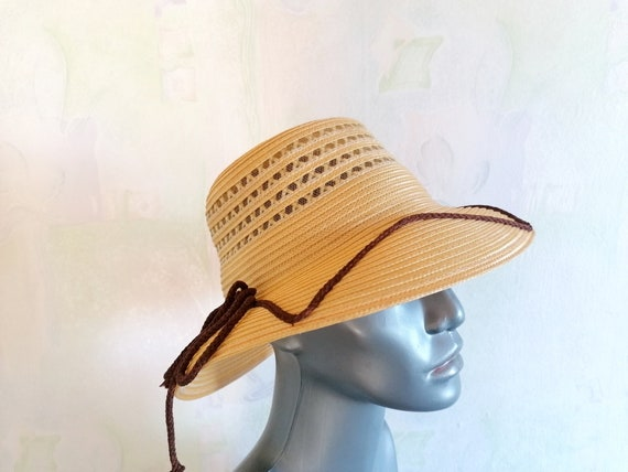 Vintage Straw Sun Hat, Straw Hat with Brown Rope,… - image 6
