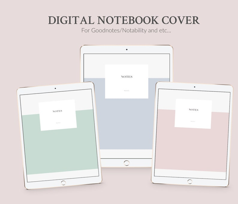 graphic about Printable Notebook Covers identify Pastel Electronic Laptop Deal with Template 3 Colours A4 iPad Goodnotes Handles  Electronic Handles Pill or Printable - Immediate Obtain