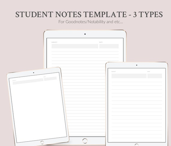 Student Notes Template Printable Or Digital 3 Templates Digital Notebook School College University Student Notebook Instant Download