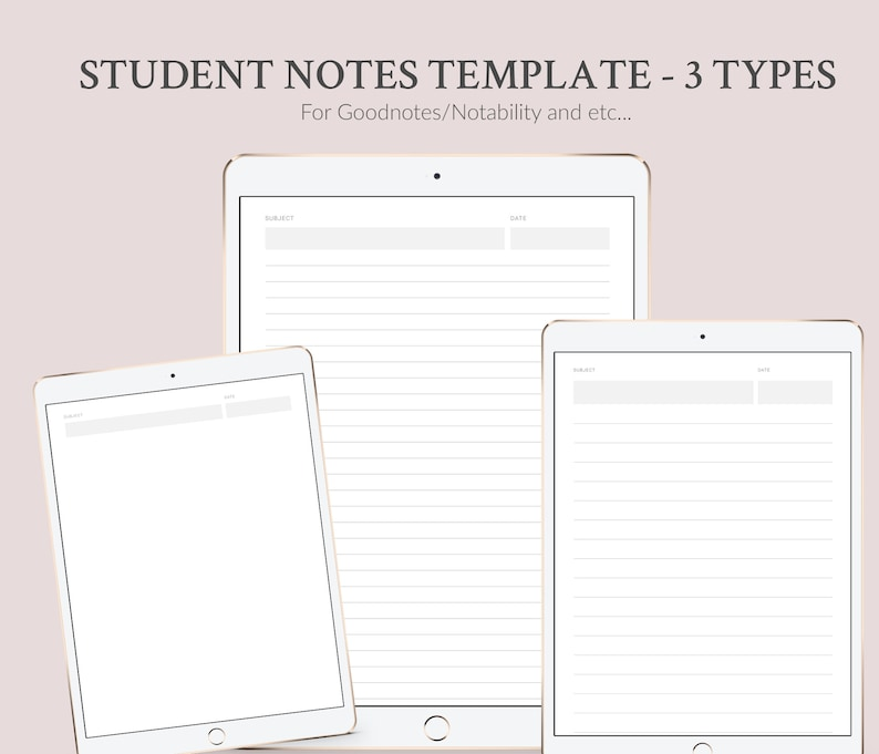 image regarding Notes Template Printable named Pupil Notes Template Printable or Electronic, 3 templates, Electronic Laptop, Faculty/Higher education/College Scholar Laptop, Quick Obtain