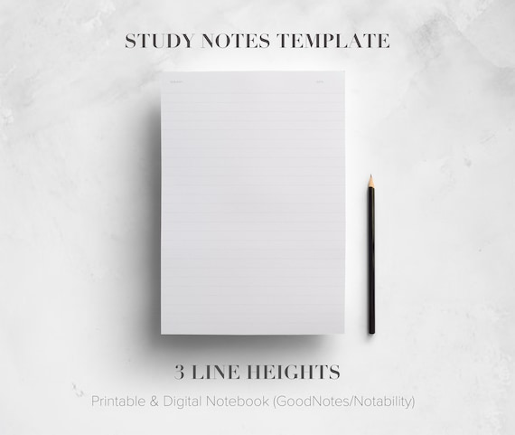 Student Notes Template Printable 3 Different Line Heights Digital Notebook School College University Notebook Instant Download