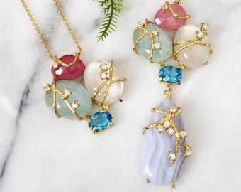 Rainbow Moonstone Tanzanite Multi Gemstone Pendant Necklace 18 Apatite Blue Chalcedony Freeform Cabochon London Blue Topaz