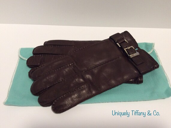 Authentic Tiffany & Co. Brown Calfskin Gloves Size