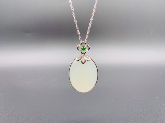 Empress Certified White Jade necklace with green jade decor