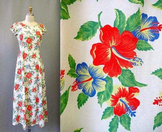 Vintage 1940's Rayon Floral Dress Hawaiian• Hibisc