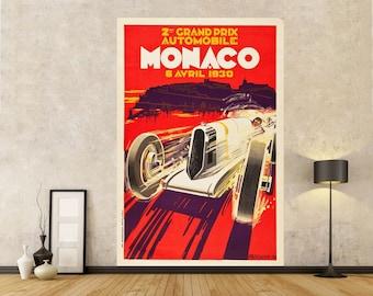 1936 Automotive Poster 20x30 Monaco Grand Prix Vintage Style Poster