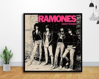 "Ramones Poster 32x32/"" 24x24/"" 18x18/"" Album Cover Wall Fabric Print"