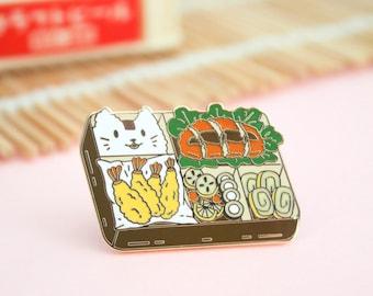 Bento Box Enamel Pin   Asian Food Enamel Pin   Cat enamel pin   Kawaii enamel pin