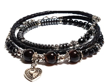 2 European Charm Bracelets Black Leather with Lobster Clasp 19cm N258