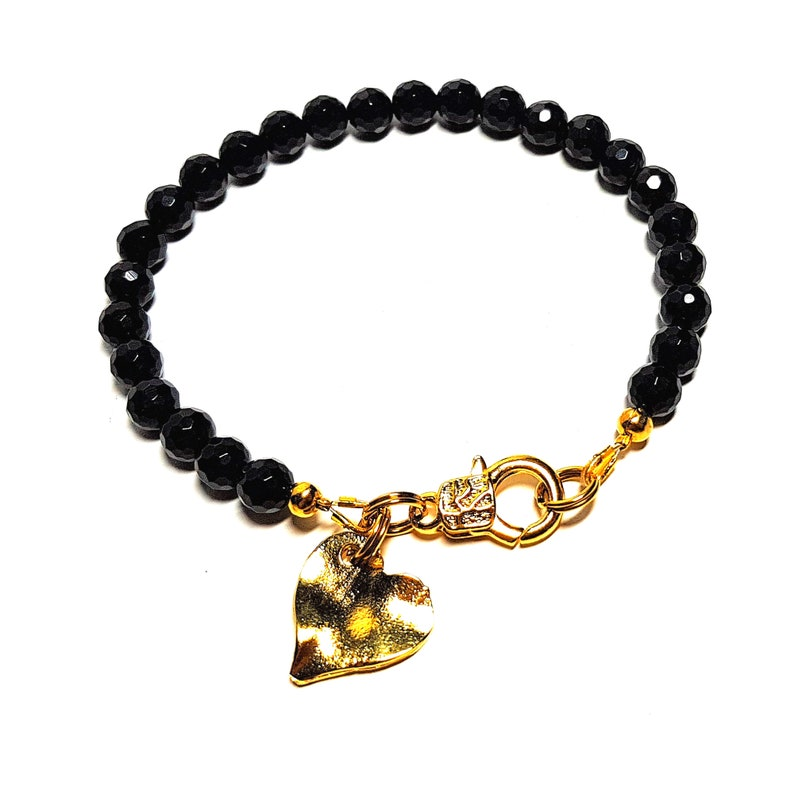 Beaded Bracelet personalized friendship bracelet gifts for women Black ONYX gemstone /& gold heart charm bracelet
