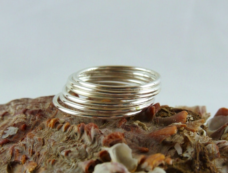 Pure Silver Ring Dainty Boho Ring 18 Gauge Silver Handmade Ring Silver Stackable Rounded Ring