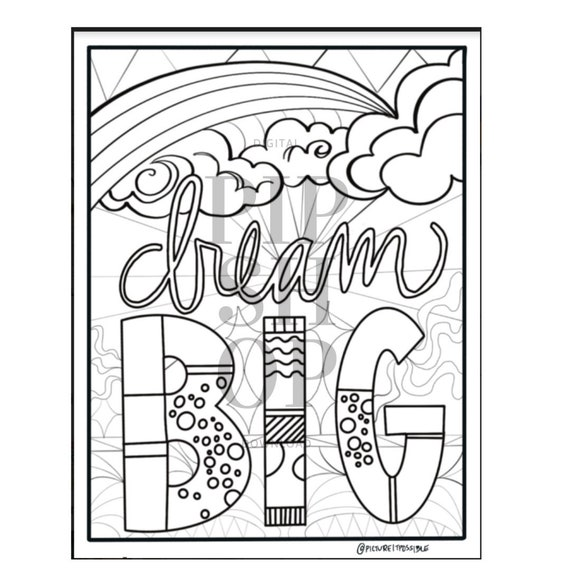 - Dream Big Coloring Page Coloring Page For Kids Adult Etsy