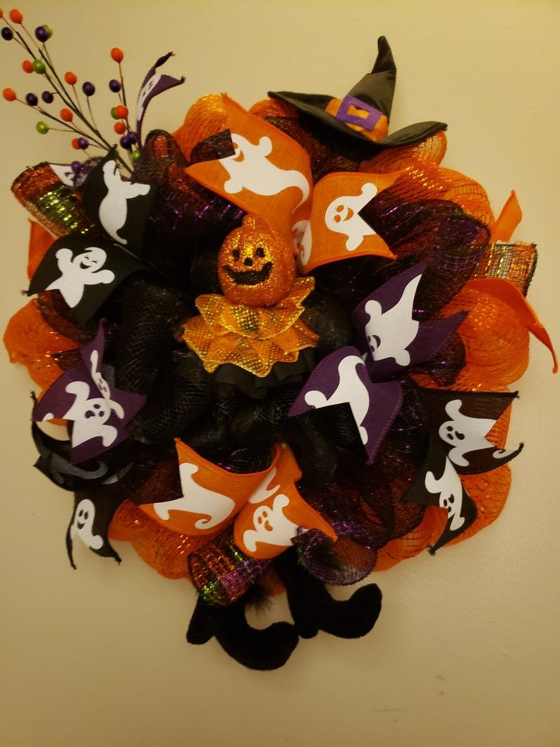 Feet Wreath Pumpkin Wreath Free Ground Shipping Witch Wreath Orange Black Purple Wreath Festive Wreath Ghost Wreath Halloween Wreath