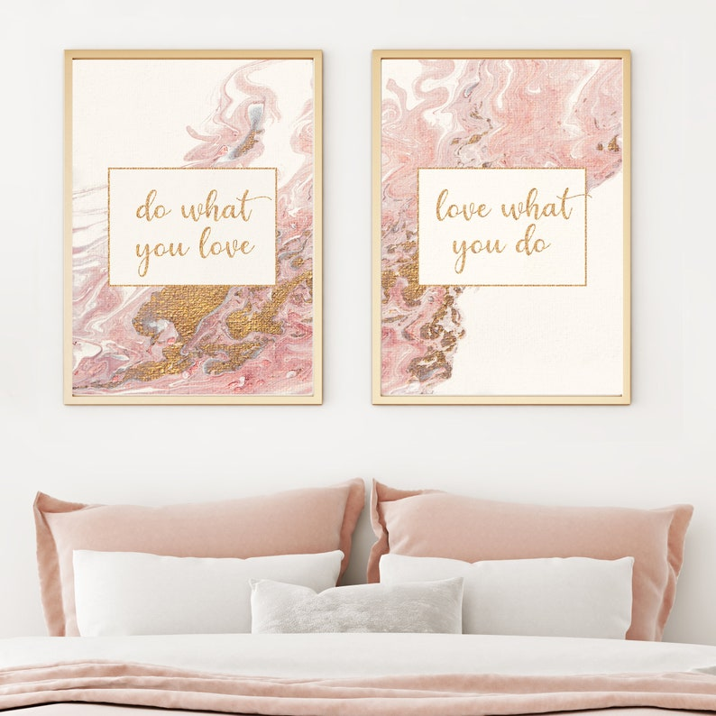 Do what you love Acrylic Pour Painting Set of two prints for image 0