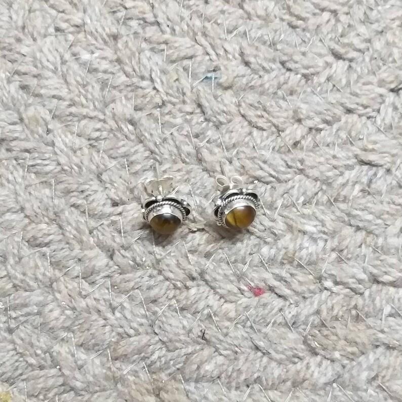 Sterling Silver Pair Tiger Eye Studs Boho Studs Tiger Eye Stud Gemstone Studs Birthstone Studs Tiger/'s Eye Stud Earrings