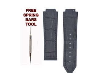 f16ef88bcee 22mm Hublot BigBang For Women Black Leather Plated Rubber Watch Band Strap  Free Spring BAR Tool BB130