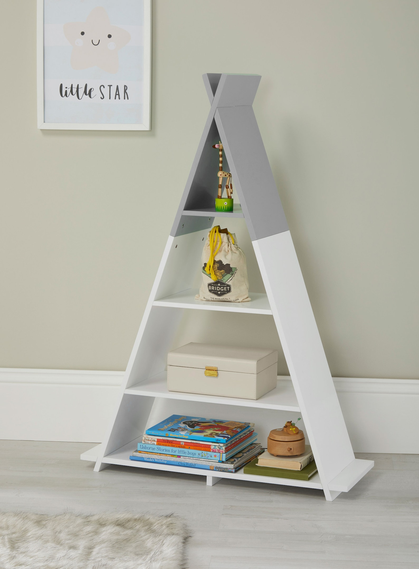Childrens Kids Bedroom Nursery Floor Standing Tipi Storage Shelving White & Grey Green