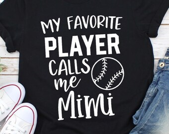 f6b8146b Cute Sports Tee for Mimi- My Favorite Player Calls Me Mimi- Short-Sleeve  Unisex T-Shirt- Womens Baseball Shirt- Graphic T-shirt- Gift for P