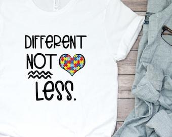 7c66f244 Autism Awareness- Different Not Less tee- Short-Sleeve Unisex T-Shirt-  Autism- Asperger Shirt