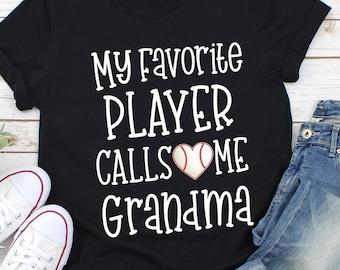 3f1d9cc7d My Favorite Player Calls Me Grandma Shirt- Short-Sleeve Unisex T-Shirt-  Baseball Shirt- Proud Grandma