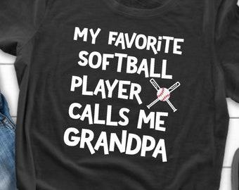 862c8365 My Favorite Softball Player Calls Me Grandpa Shirt- Gildan 64000 Unisex  Softstyle T-Shirt with Tear Away Label- Proud Grandpa Tee