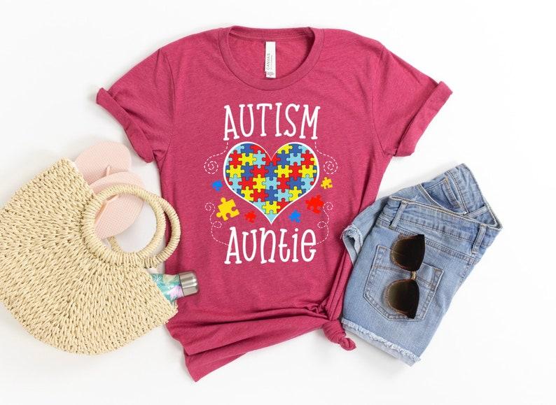 Autism Awareness Shirt Autism Auntie Autism Awareness  Puzzle Pieces Shirt Autism Aunt Gift