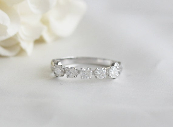 3.5 mm Round Cut Wedding Ring Band Half Eternity C/&C Forever Classic Moissanite Ring Solid 14K White Gold Ring Band Match Bridal Ring Band