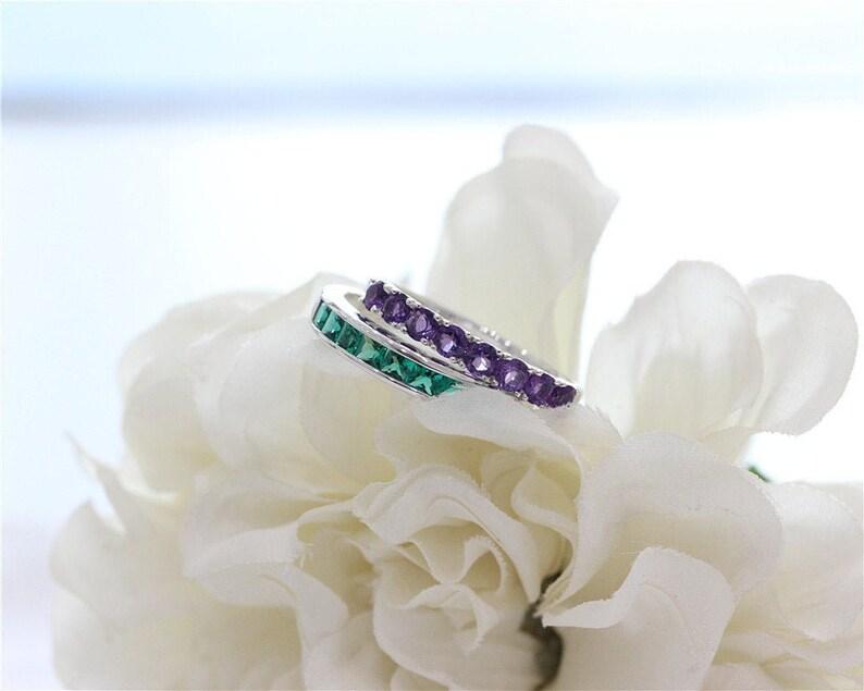 Silver Ring Treated Emerald Ring Set Gemstone Ring Engagement Set White Gold Plated Ring Set Stackable Ring Wedding Ring Set Handmade Ring