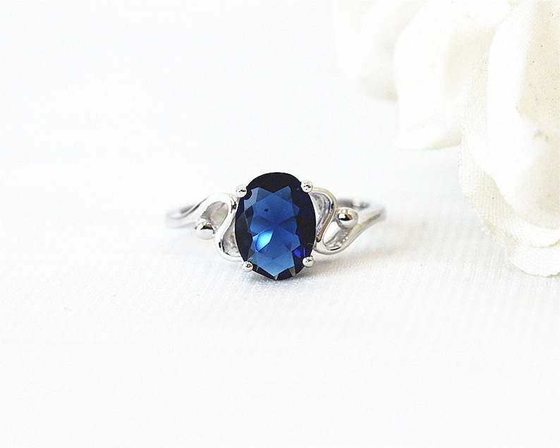 Silver Ring 7*9mm Oval CutLab Created Sapphire Ring White Gold Plated Ring   Half Eternity Ring Gemstone Ring Engagement Ring Promise Ring