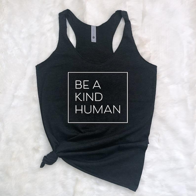 Black Be a Kind Human Navy Athleisure Pink Woman/'s Tank Top White Workout Tank