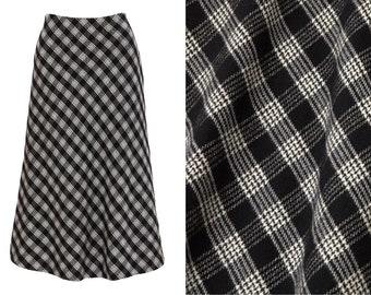 b6bae2ba69 vintage 90s grunge black   white wool plaid bias skirt