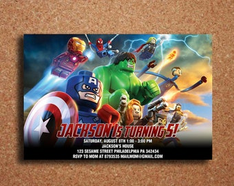 Avengers Invitation Birthday Party Superhero Digital Personalized