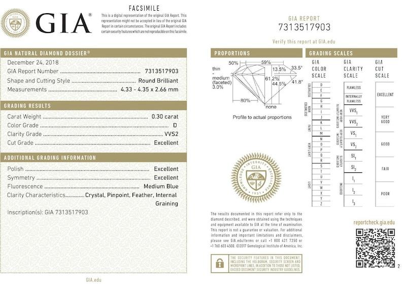 EGL Certified D Color Natural Diamond VVS2 Clarity Round Brilliant Cut 0.30 Ct.