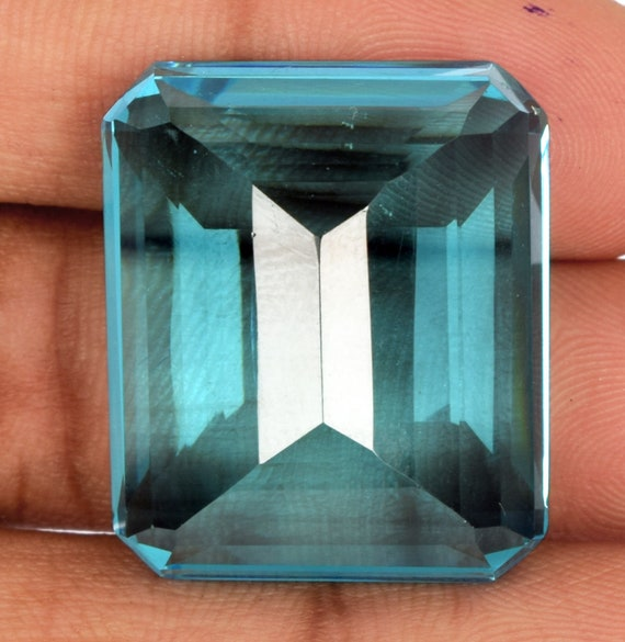 Faceted Blue Topaz 136.00 Ct Perfect Emerald Cut Loose Gemstone for Jewelry Making