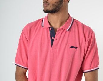 d98acb4194 SLAZENGER | Vintage | Sportswear | Pink | Polo | Shirt | Mens | Extra Large  | XL