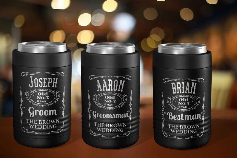 Engraved Personalized Stainless Steel Beer Can Cooler - A Great Best  Man,Groomsmen, Groomsman, Father, Bachelor Party Gift Favor