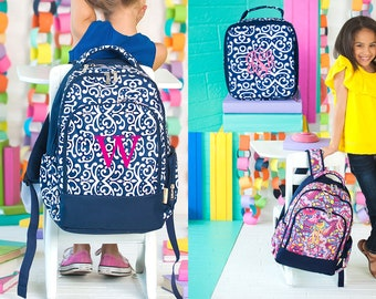 Monograms Personalized Bookbag Kids School Gear Children Gifts Monogrammed School Backpack Navy Bag