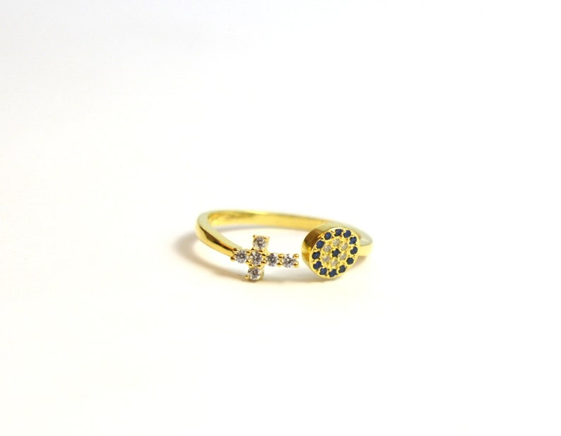 Gold Target ring target and Cross ring open cubic zirconia ring delicate cz diamonds sterling silver gold plated winner ring