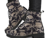 Skull Boots , Dia De los Muertos,Gothic Hiking Boots,Women Boots, Dead of the day,Vegan Leather Boots, Combat Style Boots,Goth Winter Boots,