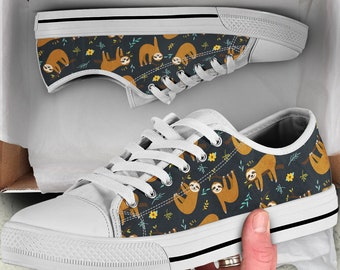 brand new 6a778 aad6d Sloth Low Top Shoes   Sloth Women Shoes   Women Sneakers   Sloth Women Canvas  Shoes  Sloth Sneakers   Sloth Print  Sloth Flat Shoes