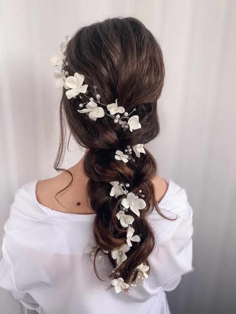 Bridal hair vine Extra long hair vine Wedding floral hair image 0