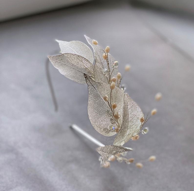 Grecian tiara  Leaf crown Boho headpiece Silver leaf headband Wedding headband Silver hair accessory Leaf headpiece Leaf bridal crown