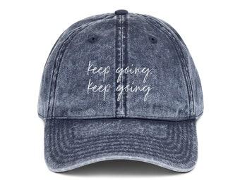 c0f79b9130dad Keep Going Vintage Dad Hat • Workout Hat • Motivational Hat • Workout  Baseball Hat Equality • Embroidered Hat • Exercise Hat