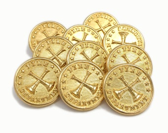 "Waterbury-Nickel 7//8/"" Crossed Trumpets// Bugles Fire Department Uniform Buttons"