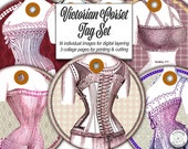 Victorian Corsets on Round Label Tags Digital Ephemera Download Set for Junk Journals, Scrapbooks, Cards and Creative Steampunk Designs