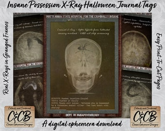 Insane Possession X-Rays Halloween Journal Tags Printable Digital Download Ephemera Set for Junk Journals, Collages, Scrapbooks and Crafting