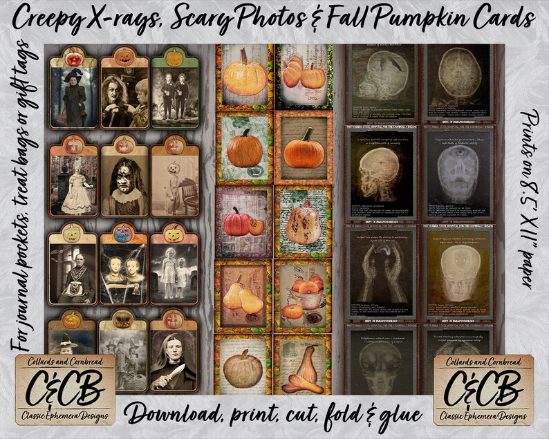 Scrapbooking /& Crafting Halloween Ephemera Mega Download 12 Kit Combo Pack with 220 Pages of Images for Junk Journaling Card making